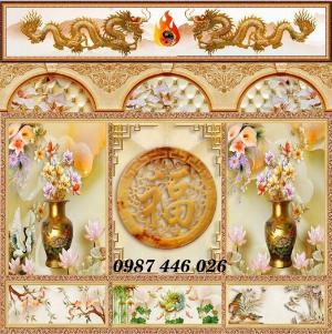 Gạch tranh phòng thờ ốp tường trang trí đẹp HP799090