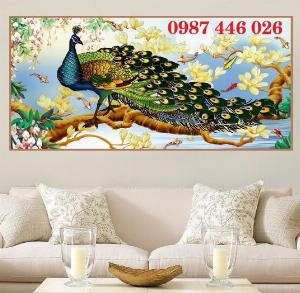 Tran gạch chim công 3d trang trí tường HP988