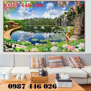 Gạch tranh tường trang trí 3d phòng khách HP799