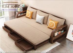 Sofa giường gỗ xu hướng mới cho phòng khách hiện đại tại Dĩ An, Bình Dương