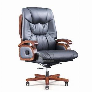 Ghế làm việc bọc da thật 50% chân gỗ dành cho CEO cao cấp nhập khẩu
