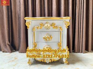 Tủ đầu giường Hoàng gia cổ điển sơn trắng dát vàng VIP
