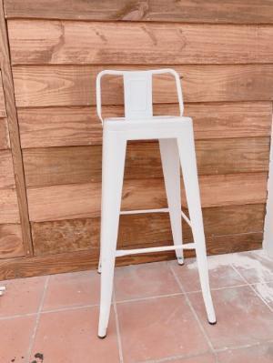 Ghế bar sắt tolix màu trắng