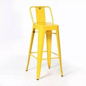 Ghế bar tolix có lưng tựa màu vàng