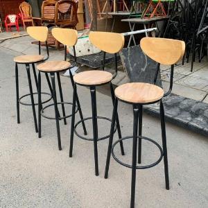 Ghế bar chân sắt mặt gỗ có lưng tựa