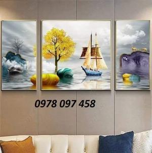 Thuyền buồm - tranh gạch phòng khách