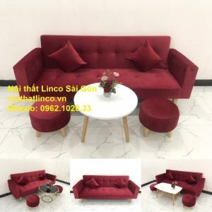 Bộ ghế sofa giường đa năng màu đỏ vải nhung rẻ đẹp
