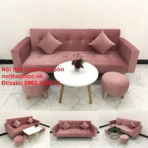 Bộ ghế sofa giường giá rẻ | Salong sopha màu hồng phấn đẹp phòng khách