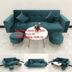 Bộ ghế salon sopha giường rẻ | Sofa màu xanh lá cây đậm phòng khách