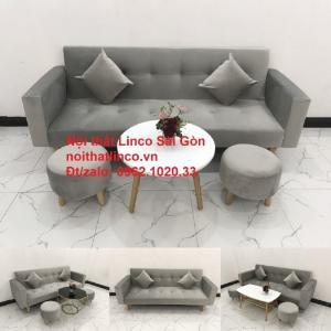 Bộ bàn ghế salon giá rẻ | sofa giường nằm nhỏ gọn xám nhung