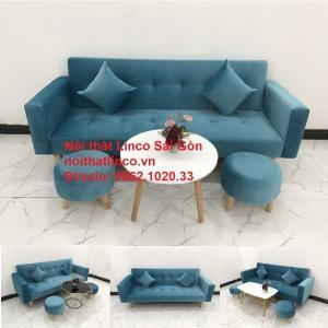 Bộ ghế sofa giường giá rẻ | salon xanh nước biển đẹp phòng khách