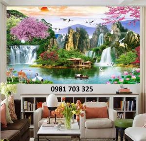 Tranh gạch phòng khách, tranh 3D phong cảnh sơn thủy hữu tình