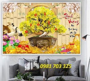 Gạch tranh hoa mai, tranh tài lộc trang trí tường