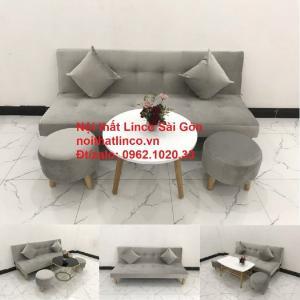 Bộ ghế sofa bed giường nằm nhỏ gọn 1m7 giá rẻ xám lông chuột vải nhung ở tại Nội thất Linco Sài Gòn