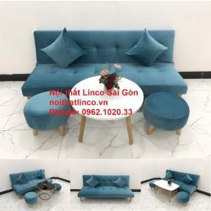Bộ ghế sopha salon màu xanh nước biển đẹp | Sofa giá rẻ phòng khách | Nội thất Linco Sài Gòn