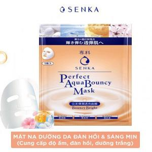 Mặt nạ Senka cấp ẩm dưỡng trắng và đàn hồi Perfect Aqua Bouncy Mask Bouncy Bright 23g