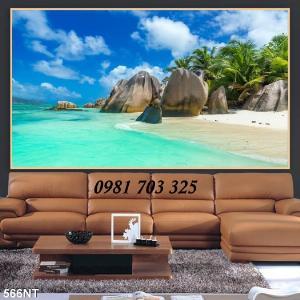 Gạch tranh phong cảnh, tranh 3D cảnh bãi biển trang trí phòng