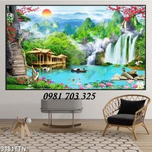Gạch tranh sơn thủy hữu tình, tranh phong cảnh 3D treo phòng khách