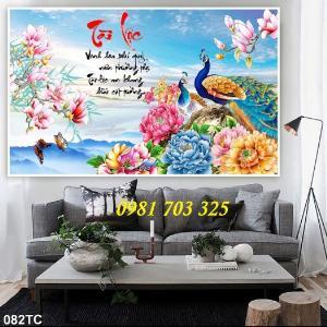 Tranh chim công phong thủy 3D, gạch tranh trang trí tường