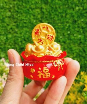 Túi vàng đỏ may mắn chữ Phúc, Chiêu Tài Tấn Lộc mẫu xu vàng và hồ lô vàng