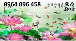 Gạch tranh ốp tường 3d cá chép hoa sen - NVC3