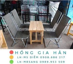 Bàn ghế cafe xếp gọn Hồng Gia Hân C114