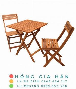 Bàn ghế gỗ xếp gọn Hồng Gia Hân C115