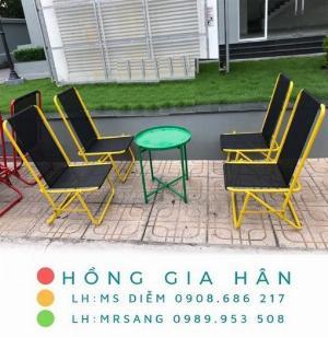Bàn ghế cafe xếp gọn giá rẻ Hồng Gia Hân C122