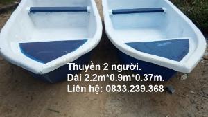 Thuyền nhựa/composite 2 người đi câu, thả lưới, thả mồi cá.
