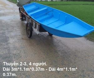 Thuyền nhựa/composite 4 người đi câu, thả lưới, thả mồi cá.