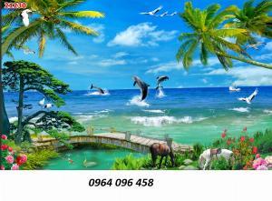 Tranh cảnh biển 3d - tranh gạch 3d cảnh biển - TCV32