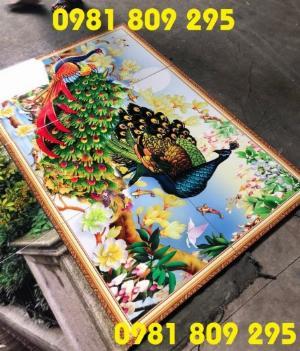 Gạch tranh 3d - tranh 3d chim công - tranh gạch