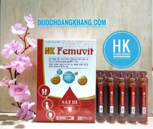 HK Femuvit Bổ sung sắt, Acid folic, Vitamin B12 cho cơ thể.