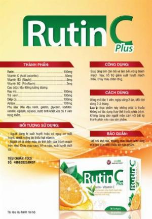 RUTIN C Plus (Hộp 30 viên )Điều trị trĩ. Hỗ trợ chống oxy hóa, hạn chế lão hóa da, làm đẹp da.