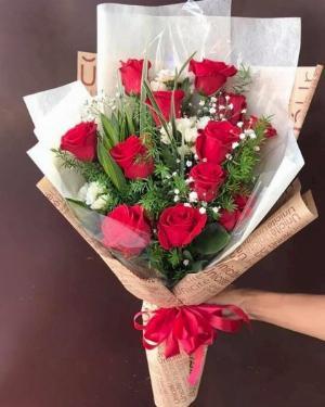 Bó hoa hồng đỏ dáng dài tặng em - LDNK140