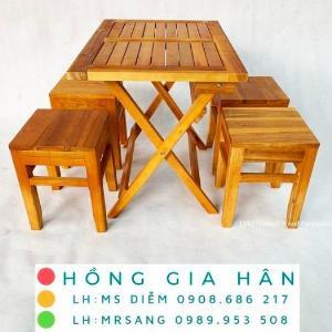 Bàn ghế cafe bằng gỗ Hồng Gia Hân C116