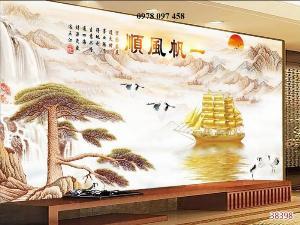 Gạch tranh 3d - tranh phong thủy- tranh thuyền buồm