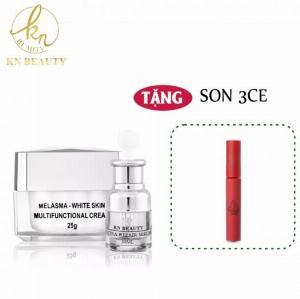 [QUÀ TẶNG MẶT NẠ SAFFRON] Bộ 2 sản phẩm Trắng Da Ngừa Nám KN Beauty chuyên sâu : Kem dưỡng 25g + Serum 30ml