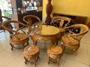 Bộ bàn ghế móc thúng tròn mặt liền 7 món gỗ nu nghiến BBG553