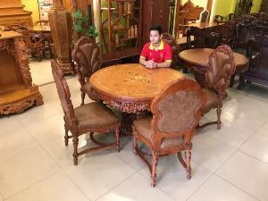 Mặt bàn ăn tròn cẩn veneer 1.27m*4cm MBA081E