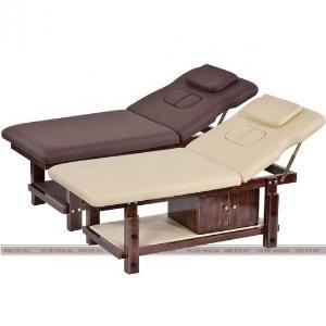 Giường massage nâng đầu gỗ sồi cao cấp màu nâu/be sang trọng
