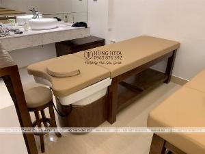 Giường gội đầu dưỡng sinh gỗ sồi màu óc chó chất lượng cao cấp
