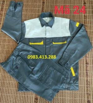 Quần áo bảo hộ lao động màu chì phối vàng ghi