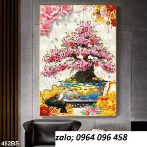 Tranh 3d hoa đào - tranh gạch 3d hoa đào - SCX32