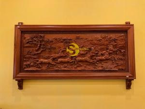 Tranh  bát mã đục tay gỗ nguyên khối siêu vip
