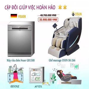 Combo ghế massage + máy rửa chén nhập khẩu từ nước Đức