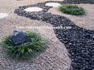 Tiểu cảnh sân vườn tạo điểm nhấn bằng sỏi trang trí