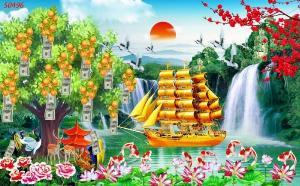 Gạch tranh 3d - tranh thuyền buồm vàng