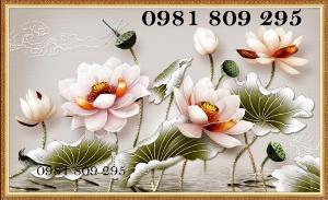 Tranh 3d hoa sen trang trí