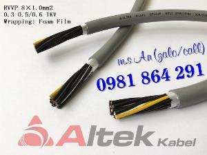 Cáp điều khiển 8 lõi: 8x0.5, 8x0.75, 8x1.0, 8x1.5mm2 0.6-1kV